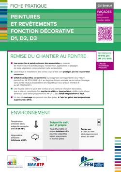 Fiche pratique : Peintures et revetements fonction decorative D1, D2, D3