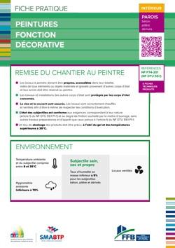Fiche pratique : peintures fonction decorative - interieur parois (beton, platre, derives)